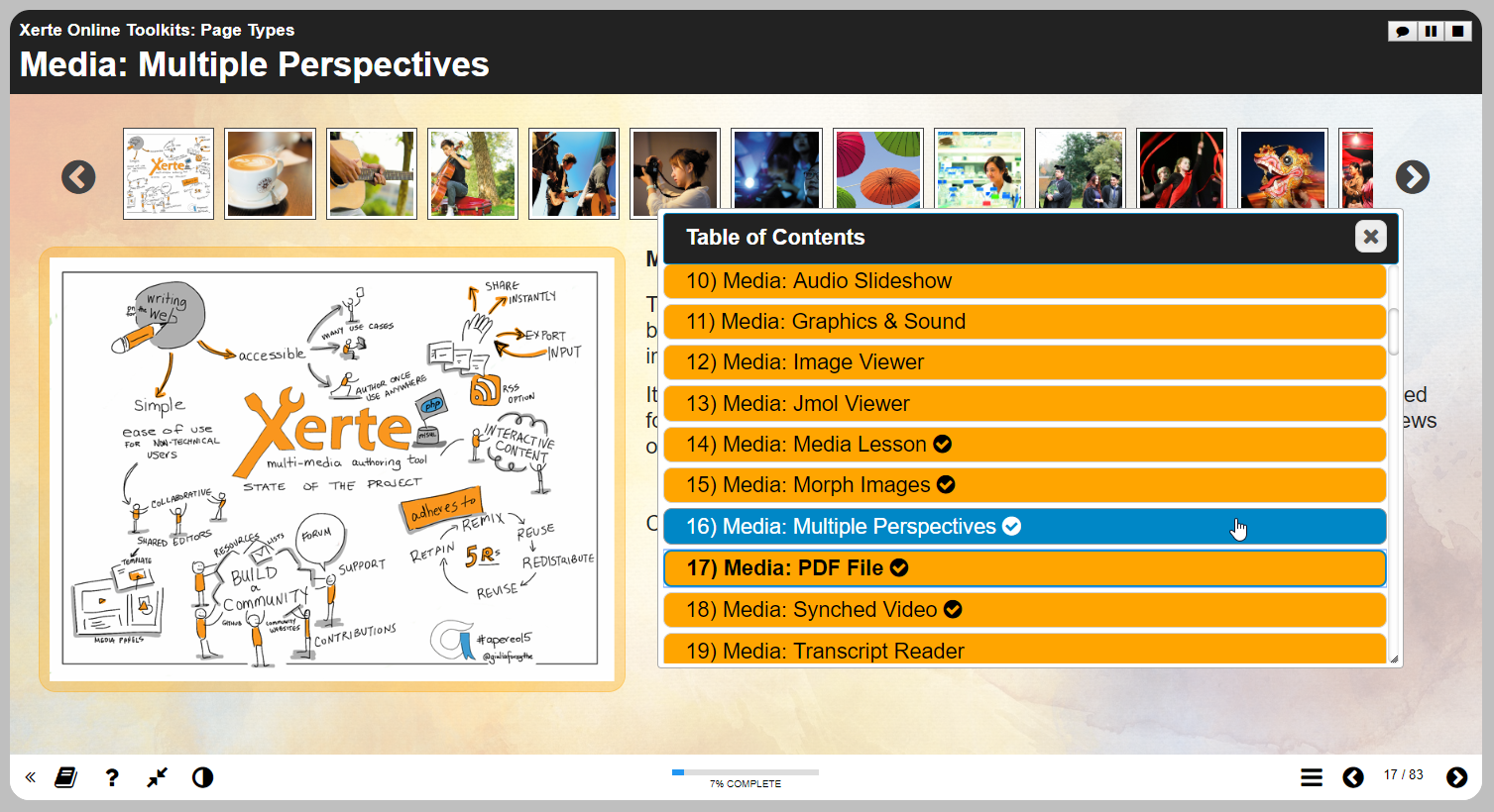 Multiple perspectives page type showing various images and videos